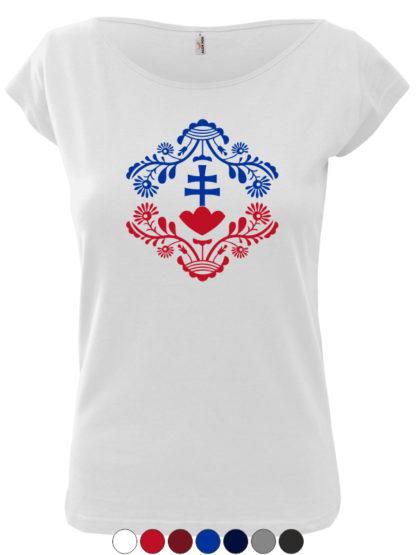 Dámske tričko Slovakia Retro Erb II - biele