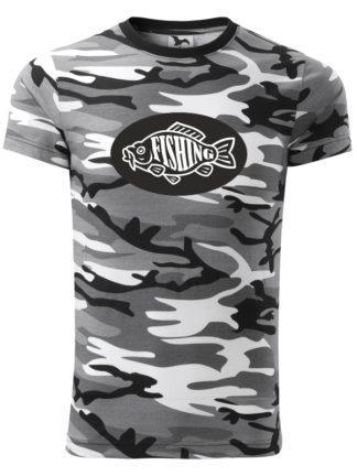 Rybárske tričko Fishing Camouflage - sivé