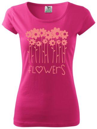 Dámske tričko milujem kvety - purpurové