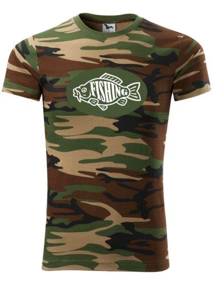 Rybárske tričko Fishing Camouflage - hnedé