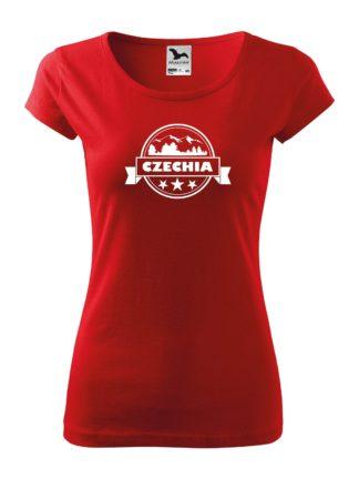 Dámske tričko Czechia Stamp - červená