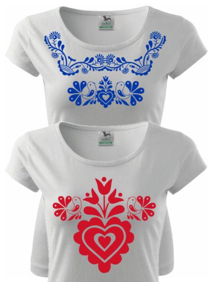 2 dámske tričká s ľudovým motívom