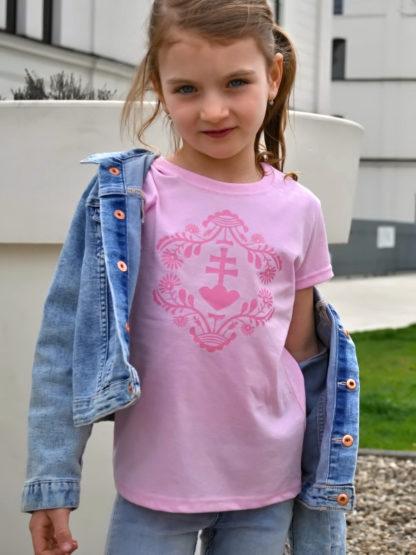 dievčenské tričko Slovakia Retro Erb - ružové 2