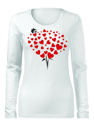 Dámske tričko s dlhým rukávom srdiečková kytica s vtáčikom - biele